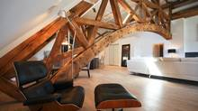 Victoria Lofts interior: Penthouse family room and truss. (Pedro Ho)