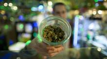 An employee shows a jar of marijuana at the Health Lifestyle Marijuana Supply Centre on Commercial Drive in Vancouver, British Columbia. (Rafal Gerszak For The Globe and Mail)