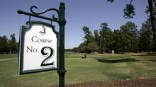 A sign identifying the Pinehurst No. 2 golf course at the Pinehurst Resort and Country Club in Pinehurst, N.C. (Gerry Broome/The Associated Press)