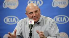 New Los Angeles Clippers owner Steve Ballmer speaks during a news conference held after the Clippers Fan Festival in Los Angeles on Aug. 18, 2014.