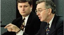 Reform MP (and future prime minister) Stephen Harper, left, with then-leader of the party Preston Manning in 1995. (Peter Jones/REUTERS)