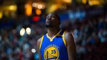 Golden State Warriors' Kevin Durant looks on before a pre-season NBA basketball game against the Toronto Raptors in Vancouver, B.C., on Saturday October 1, 2016. (THE CANADIAN PRESS)