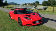A hang glider attached with the Seasucker suction cup rack to Peter Cheney's Lotus Evora S. (Peter Cheney/The Globe and Mail)