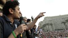 Google's Wael Ghonim addresses a mass crowd inside Tahrir Square in Cairo Feb. 8, 2011 (DYLAN MARTINEZ)