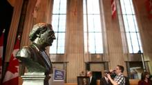 January 11, 2012: A bust of Sir John A. Macdonald is seen during announcement in Ottawa Jan. 11, 2012. (Dave Chan For The Globe and Mail)