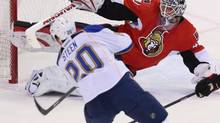 Ottawa Senators goaltender Robin Lehner (40) makes a pad save on St.Louis Blues Alexander Steen (20) during seond period NHL action in Ottawa Monday December 16, 2013. (FRED CHARTRAND/THE CANADIAN PRESS)