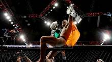 McGregor of Ireland celebrates his KO victory over Eddie Alvarez of the United States in their lightweight championship bout during the UFC 205 event at Madison Square Garden on November 12, 2016 in New York City. (Michael Reaves/Getty Images)