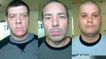 (Quebec police have identified and shared photos of three inmates who escaped from jail on helicopter. Denis Lefebvre (left), Serge Pomerleau and Yves Denis.)