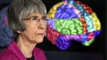 Dr. Sandra Black, grantee, Weston Brain Institute; Brill Chair in Neurology, Sunnybrook Health Sciences Centre and University of Toronto, will be conducting research into treatment of neurodegenerative diseases of aging, at the Weston Brain Institute. 3d images of the brain and the different regions are shown on a monitor behind Black, who was photographed at Sunnybrook Health Sciences Centre on May 14 2014. (Fred Lum/Fred Lum/The Globe and Mail)