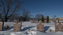 The gravestones of (left to right) Rona Amir Mohammad, Zainab Shafia, Sahar Shafia and Geeti Shafia in the Islamic cemetery in Laval Qc. on Monday, Jan. 30, 2012. (Peter Mccabe/Peter McCabe/THE GLOBE AND MAIL)
