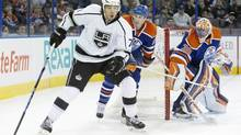 Los Angeles Kings Jordan Nolan (71) controls the puck during first period NHL action in Edmonton, Alta., on Sunday March 9, 2014. (JASON FRANSON/THE CANADIAN PRESS)