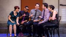 From left, Sarah Hillier, Kevin Vidal, Craig Brown, Connor Thompson and Allison Price, in Second City's Sixteen Scandals. (Second City)