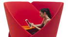 Witness the cocooning chair, the seat with a built-in speaker and a headboard with pockets for holding gadgets.