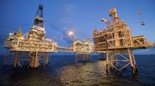Nexen's Galaxy III offshore rigs with the newly installed fourth platform in the foreground in the North Sea (Reuters)