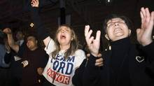 People react as they celebrate Rob Ford's victory in the 2010 election. (Nathan Denette/The Canadian Press/Nathan Denette/The Canadian Press)