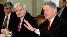 President Bill Clinton, right, speaks at the start of budget talks with congressional leaders at the White House, December 22, 1995, including Speaker of the House Newt Gringich (Luc Novovitch/REUTERS)