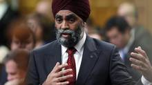 Defence Minister Harjit Singh Sajjan speaks in the House of Commons in Ottawa on Feb. 1, 2017. (Adrian Wyld/THE CANADIAN PRESS)