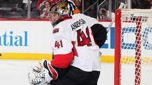 Goalie Craig Anderson of the Ottawa Senators made 29 saves against the New Jersey Devils on Feb. 21, 2017 in Newark, N.J. (Paul Bereswill/Getty Images)