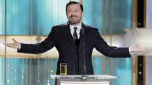 Ricky Gervais is shown during the 68th Annual Golden Globe Awards in Beverly Hills, Calif. (Paul Drinkwater/AP)