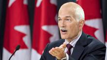 NDP Leader Jack Layton speaks to reporters in Ottawa on Aug. 30, 2010. (Adrian Wyld/THE CANADIAN PRESS)