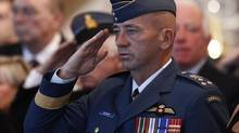 Lieutenant-General Yvan Blondin, the new commander of the Royal Canadian Air Force and Chief of the Air Force Staff, salutes during a change of command ceremony in Ottawa September 27, 2012. (CHRIS WATTIE/REUTERS)