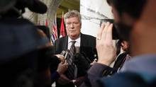 Rich Coleman speaks to media during a press conference in the Legislative Library on Wednesday, February 15, 2017 in Victoria, B.C. THE CANADIAN PRESS/Chad Hipolito