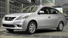 2012 Nissan Versa sedan. (Mike Ditz/Nissan)
