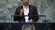 Iran's President Mahmoud Ahmadinejad addresses the 66th session of the United Nations General Assembly, Sept. 11, 2011. (Richard Drew/AP)