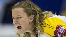 Team Manitoba skip Chelsea Carey shouts after delivering her rock to team Quebec during draw 12 curling action at the Scotties Tournament of Hearts competition in Montreal, Wednesday, February 5, 2014. (CP)
