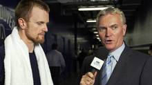 CBC's Hockey Night in Canada announcer Jim Hughson interviews Henrik Sedin after the Anaheim Ducks Vancouver Canucks pre-season game in Vancouver, BC September 25, 2010. Jeff Vinnick-The Globe and Mail (Jeff Vinnick/The Globe and Mail)