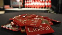 Liberal buttons await supporters at Michael Ignatieff's election-night headquarters in Toronto on May 2, 2011. (Peter Power/Peter Power/The Globe and Mail)