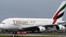 An Emirates A380 aircraft taxi's in on the runway at Pearson International Airport in Toronto, Ont., on Monday, June 1, 2009. (NATHAN DENETTE/The Canadian Press)