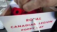 A box of Royal Canadian Legion Poppies for Remembrance/Poppy Day photographed in Toronto, Ontario, Canada. (Deborah Baic/The Globe and Mail)