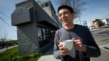 Lawrence Tsai, owner of the coffee shop Room for Cream, outside his business in Vancouver. (Darryl Dyck For The Globe and Mail)
