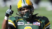 Edmonton Eskimos' Fred Stamps celebrates a touchdown against the British Columbia Lions during their CFL football game in Edmonton July 16, 2011. REUTERS/Dan Riedlhuber (Dan Riedlhuber/Reuters)