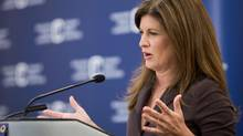 In her inaugural speech as health minister, Rona Ambrose speaks to the media at the Canadian Medical Association's annual general meeting held in Calgary, Alberta on Monday, August 18, 2013. (Chris Bolin For The Globe and Mail)