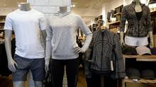 Clothes are displayed in a Lululemon Athletica retail store in New York Thursday. (BRENDAN MCDERMID/REUTERS)