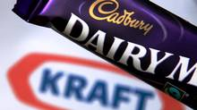 In this photograph illustration a bar of Cadbury's Dairy Milk is seen besides the Kraft logo (Matt Cardy/Matt Cardy/Getty Images))
