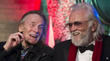 The likenesses of Gordon Lightfoot (left) and Ronnie Hawkins (right) will be featured in a new downtown Toronto mural. (J.P. MOCZULSKI For The Globe and Mail)