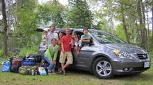 John Heinzl (red shirt) wanted to test to the Honda Odyssey's limits, so he took his family and his sister-in-law's family on a road trip. (Renée Huang for The Globe and Mail)