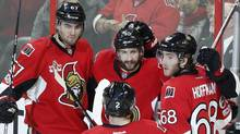 Ottawa Senators' Tom Pyatt celebrates his goal with teammates during second period NHL hockey action against the Detroit Red Wings, in Ottawa, on April 4, 2017. (FRED CHARTRAND/THE CANADIAN PRESS)