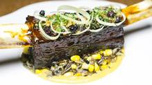 Braised Jacob's Ladder Bison with Saskatoon-style wild rice, prairie corn and pickled leeks (Chris Bolin/The Globe and Mail)