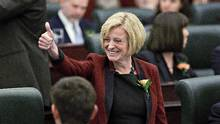 The Alberta legislature has passed a bill banning corporate and union donations to political parties. It is the flagship first bill of the new NDP government under Premier Rachel Notley. (Jason Franson/The Canadian Press)