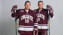 Colgate University Raiders' Tylor Spink, left, and Tyson Spink have been on the same line since they began playing organized hockey at age four. (Colgate University)
