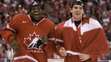 Team Canada's John Tavares (right) and defenceman P K Subban celebrate after winning the gold medal final against Team Sweden at the world junior hockey championship in Ottawa Monday, Jan. 5, 2009. (Tom Hanson)