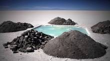 An evaporation pond used to measure lithium and other mineral levels sits in the Uyuni salt desert in Bolivia in this 2010 file photo. Lithium is enjoying its moment in the spotlight – and at least some of the enthusiasm is solidly grounded in reality. (Dado Galdieri/AP)