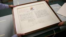 The Proclamation of the Constitution Act, 1982 is in storage at the Library and Archives Canada in Gatineau. The protest version of the Charter, with a red stain on it, would make a great permanent piece for the Canadian Museum for Human Rights in Winnipeg. (Dave Chan/The Globe and Mail)