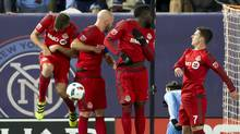 Toronto FC players Nick Hagglund (6), Michael Bradley (4), Jozy Altidore (17) and Will Johnson (7) block a free kick during the team's 5-0 win over New York City FC at on Nov. 6, 2016. (Winslow Townson/USA Today Sports)