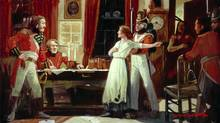 Painting of Laura Secord being brought to see Lieutenant Fitzgibbon by a Mohawk warrior, to warn the British of an impending American attack featured in The War of 1812. (Courtesy of Laura Secord Meets FitzGibbon by Lorne K. Smith, ca. 1925; National Archives of Canada,/Courtesy of Laura Secord Meets FitzGibbon by Lorne K. Smith, ca. 1925; National Archives of Canada, Estate of Lorne K. Smith)