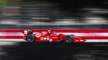 Dario Franchitti of Scotland drives during the practice session for the Toronto Indy in Toronto on Friday July 12 , 2013. (Mark Blinch/THE CANADIAN PRESS)
